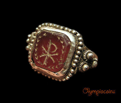 ** EXTRAORDINARY ** Late Roman or Byzantine Silver Ring   ** CHI-RHO ** RRR