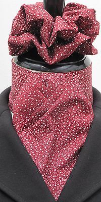 Ready Tied Cherry Red & White Stars Cotton Riding Stock & Scrunchie -Hunting Tie
