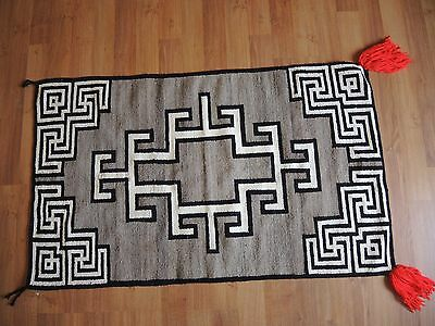 Early NAVAJO DOUBLE SUNDAY SADDLE BLANKET Rug Weaving with WHIRLING LOGS