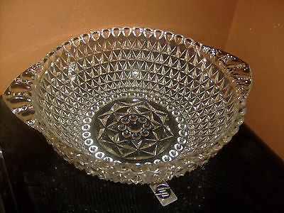 Vintage Crystal Glass Serving Bowl With Handles 8 1/2 Wide