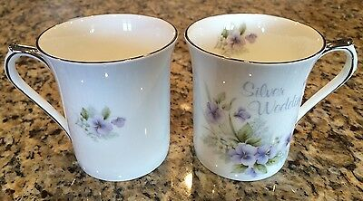 Queens Bone China Set of 2 Tea Cups & Saucers Silver Wedding Gift