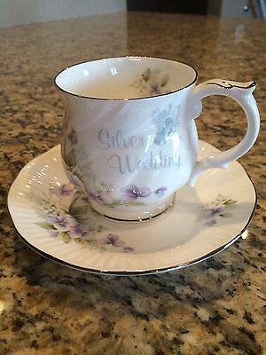Queens Bone China Footed Cup and Saucer Silver Wedding Gift