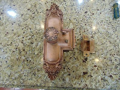 Antique  CAST BRASS Entry Set - Large Doorplates, Lock  , Russell & Erwin ""