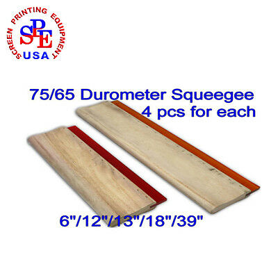 "4Pcs Silk Screen Printing Dilat Squeegee Ink Scraper 65/ DURO 6""/12""/13""/18""/39"""