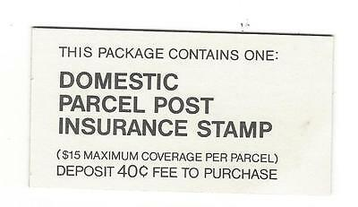 domestic parcel post insurance stamp booklet w/one stamp