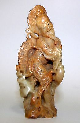 Vintage Chinese Soapstone Carving - Man with Fish
