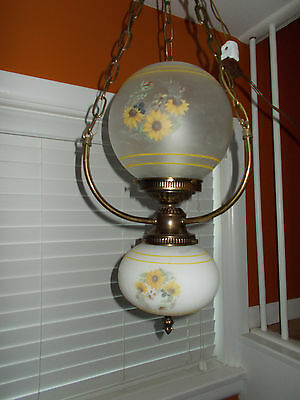 Vintage Double Glass Globe GWTW Parlor Swag Ceiling Light Fixture Painted Floral