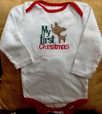 Infant Boy Girl 1 Piece L/S  White Carter's 9 Month First Christmas Excellent