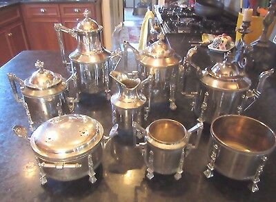 8 Piece Art Deco Service  REED AND BARTON TEA & COFFEE Lion Heads SILVER PLATED