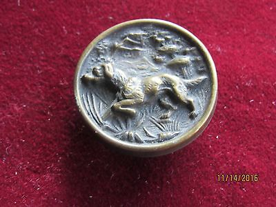 Antique Picture Hunt Button ? Hunting Dog Stud .. Old Sewing Buttons , Victorian