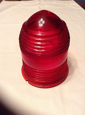 """Red Airport Runway Taxiway Glass Light Shade / 5"""" Tall x 4 3/8"""" At Base"""