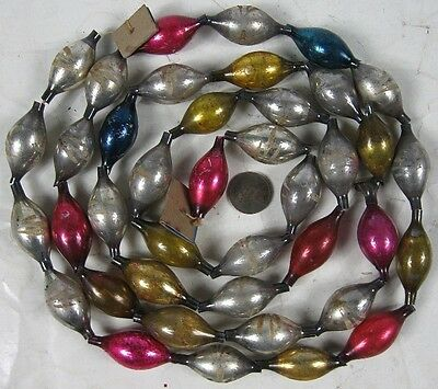"Vintage 1920's-30's Christmas Pink & Gold Mercury Glass Bead Garland 59"" Long"