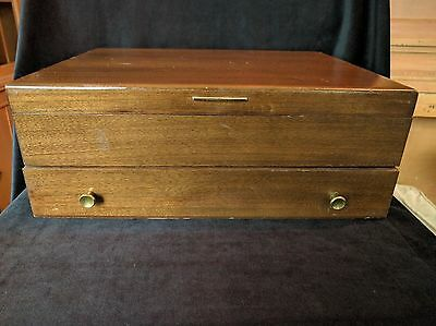 Vintage McGraw Tarnish Proof Silverware Chest with Drawer Rich Brown