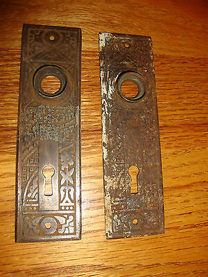 2 Antique Fancy Brass Victorian Door Plate Cover Eastlake Ornate Flowers Key VTG