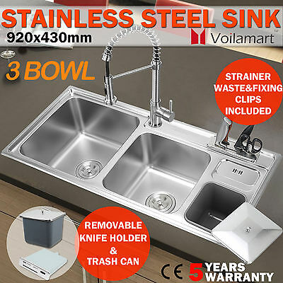 920x430mm Stainless Steel Kitchen Sink Topmount Triple Laundry 3 Water Bowl