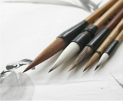 "LOT OF 5 PCS ""Santu""Chinese Water Ink Freehand Brushwork Xieyi Brush+Bamboo Bag"