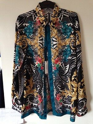 "MEN Versace 100% Silk Print Fine Shirt CERTILOGO Size 17""/43cm Collar BRAND NEW"