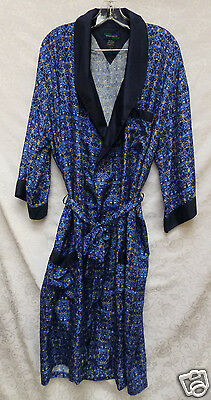 Vintage Max Deco 100% Silk Robe Smoking Jacket Kimono Hollywood Glam Hefner M L