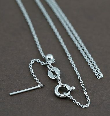 925 Solid Sterling Silver Fine Trace Chain 44cm (adjustable)