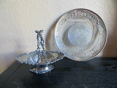 Antique Meriden Co Floral Trim Basket/ Bowl Quadruple Plat/VB.pierced trim plate