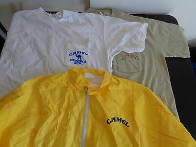 JOE CAMEL Cigarettes TOBACCO Jacket + T Shirt Lot of 3 Size XL Free Ship VINTAGE