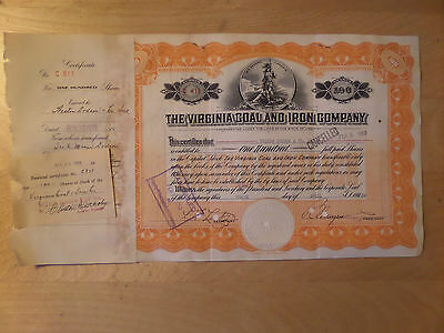 Virginia Coal and Iron Co. Stock certificate 1939 Weston Dodson