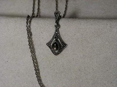 ...Sterling Silver,Marcasites,Black Star Sapphire Pendant Necklace...