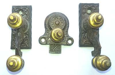 3 pieces attractive & self engraved  cast Iron & brass made COAT hooks--INDIA.