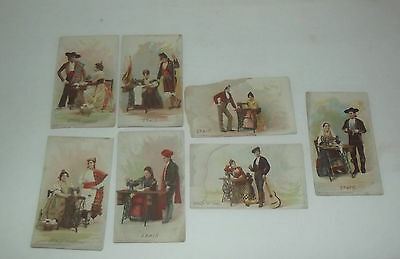 7 Vintage 1892 Singer Sewing Machine Co Trading Cards Of Spain