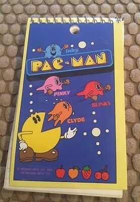 Pacman Vintage Memo Notepad * RARE FIND 1980 Midway  FUN COLLECTIBLE!