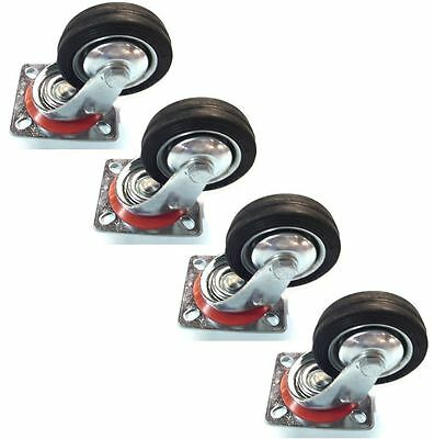 """4 Pack 4"""" Swivel Caster Wheels Rubber Base with Top Plate & Bearing Heavy DutyWP"""