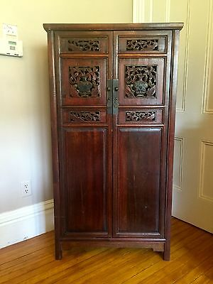1800's Antique Chinese Cabinet Armoire~INTRICATELY CARVED~BEAUTIFUL