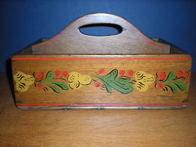 18th C Walnut Knife Box Tray Painted Folk Art RARE UNIQUE Primitive Forged Nails