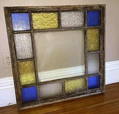 """Antique Queen Anne Victorian Stained Glass Window 29"""" by 30"""""""