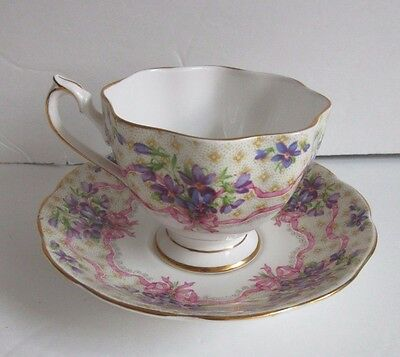 """Queen Anne English Bone China Cup & Saucer """"Sweet Violets"""" Violets w/Pink Ribbon"""