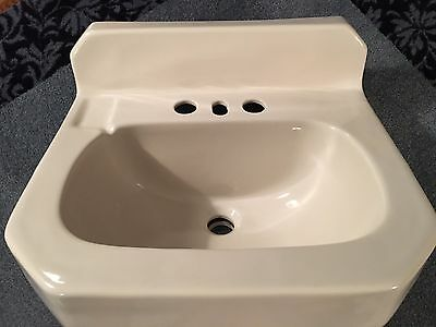 "Small Vtg. White Porcelain Ceramic Bathroom Sink, ""CASE"" Dated 3-1-48 Wall Mount"