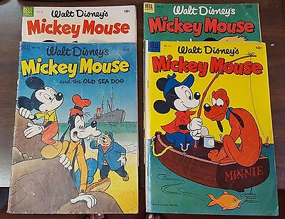 4 Assorted Walt Disney's Mickey Mouse Comic Books No. 32,33,37, 411, MD2018