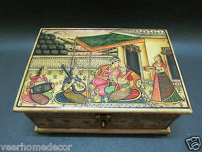 Antique Finish Mugal King Queen Miniature Painted Wood Camel Bone Collection Box