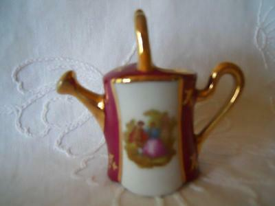 Lovely French Limoges L I Miniature Watering Can, Depicting The Progress Of Love