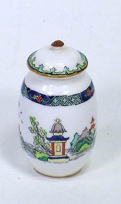 Antique Crown Staffordshire Doll Child Miniature Mini Ginger Cover Jar Willow