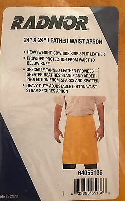 "PPE PROTECTION RADNOR 24""x24"" INCH WELDING WELDER LEATHER APRON COTTON STRAPS NR"