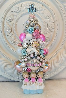 sweet PINK 3 Carolers Bottle Brush TREE old Ornaments rhinestone Jewelry BROOCH