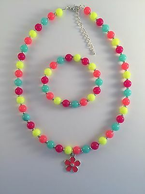 Girls Beads Necklace&Bracelet Jewellery Set flower charm Bright Coloufulr Gift