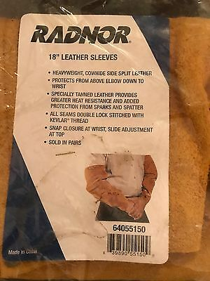 "Ppe Protection Equipment Radnor 18"" Inch Welding Welder Leather Sleeves 1 Pair !"