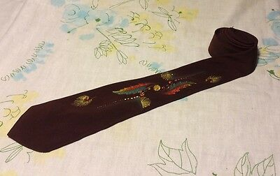 Vintage Unbranded Men's Neck Tie With Hand Painted Design