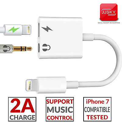 iPhone 7 / Plus 2 in 1 Lightning to 3.5mm Headphone Adapter Audio + Charge Cable