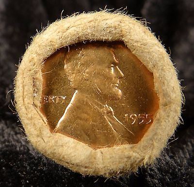 1955 P BU Red MS Uncirculated OBW Old Half Roll of Lincoln Wheat Cent Pennies