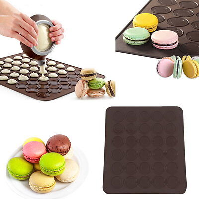 Large 30 Macarons/Muffins Silicone Baking Pastry Sheet Mat Cup Cake Mold Tray IP