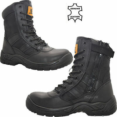 Mens Leather Military Combat Boots Police Safety Steel Toe Cap Work Shoes Boots