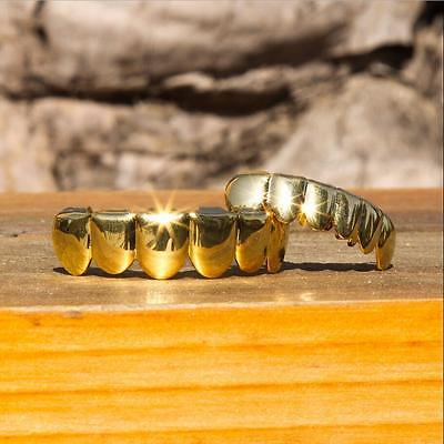 REAL SHINY 14K Gold Hip Hop Teeth Grillz Top & Bottom